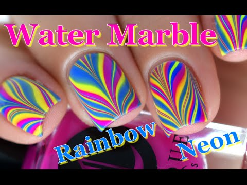 Nail Art ] Rainbow Neon Water Marble nails TUTORIAL // melyne ...