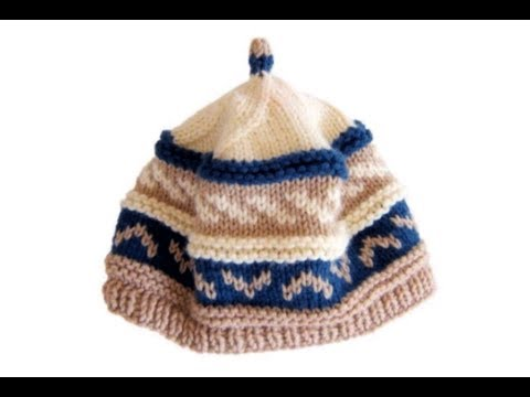 How to knit a Fair Isle pattern Beanie Cap hat with needles