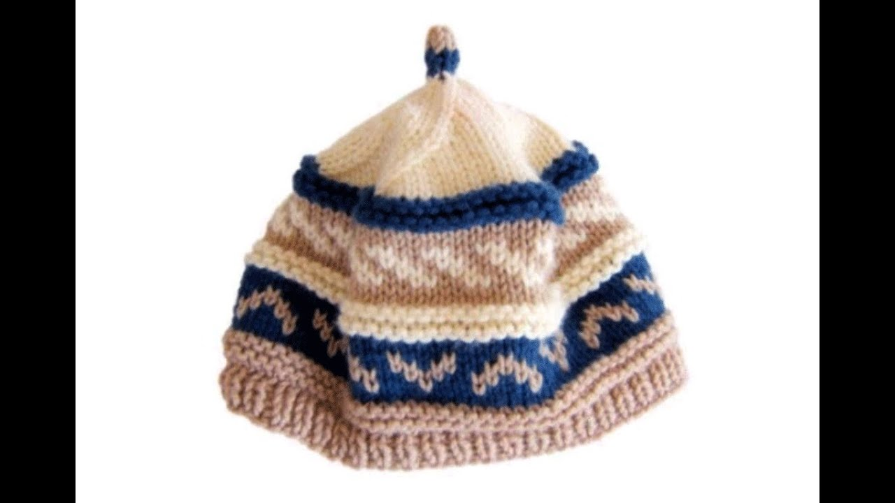 How to knit a Fair Isle pattern Beanie Cap hat with needles - YouTube