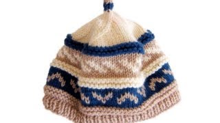 How To Knit Fair Isle Pattern Beanie Cap Hat With Needles