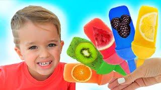 Vlad und Niki pretend spielen Kochen Obst Eis