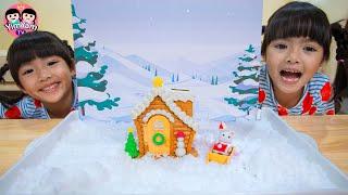 หนูยิ้มหนูแย้ม   แต่งบ้านคริสต์มาสด้วยหิมะ
