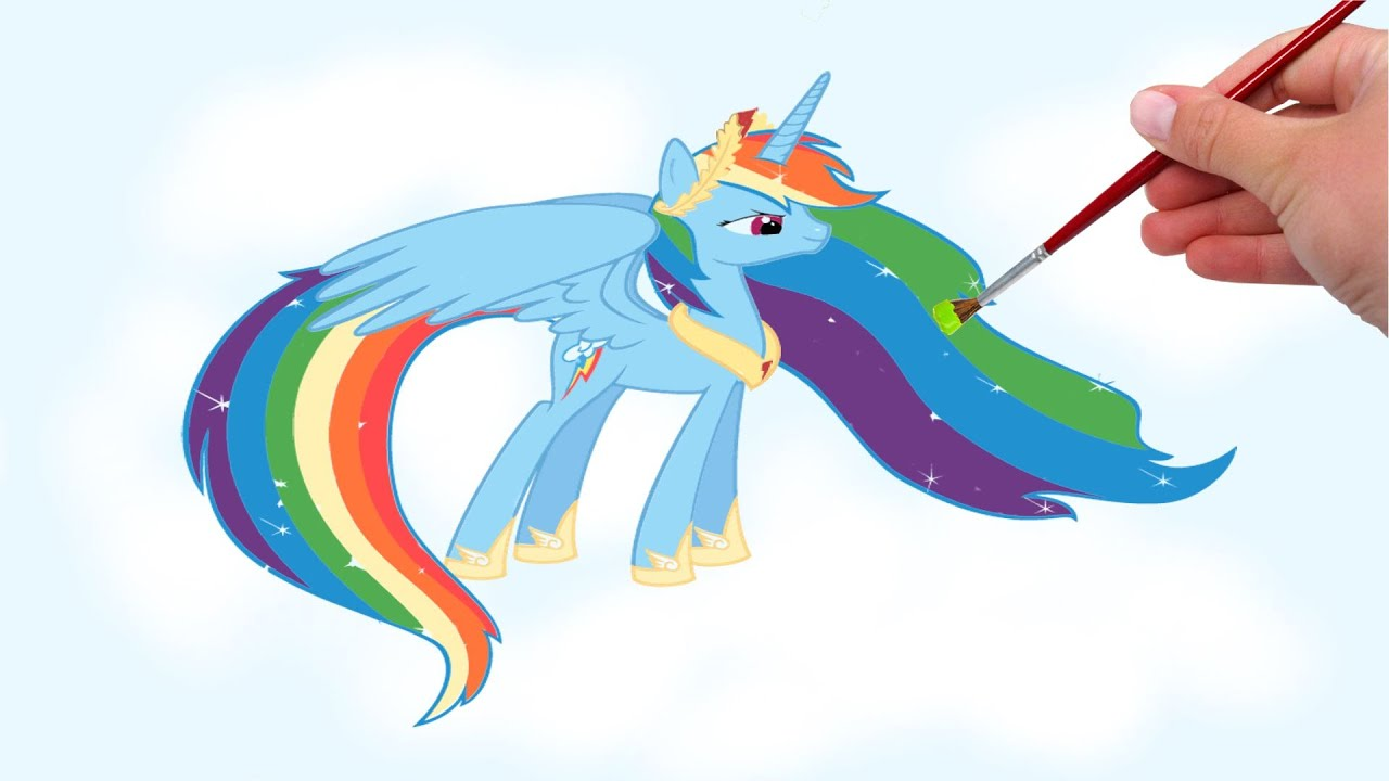 my little pony mlp princess rainbow dash coloring pages youtube - Rainbow Dash Coloring Page
