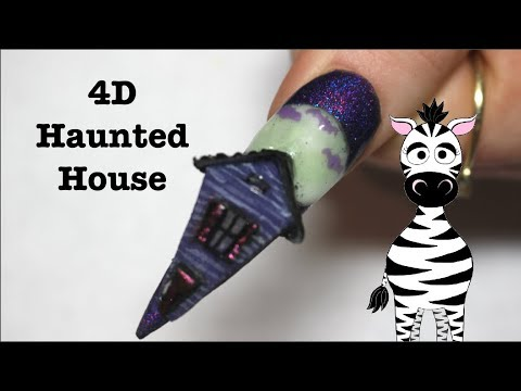 4D Haunted House Acrylic Nail Art Tutorial   Glow In The Dark, NFC, Solar Pigment   BPS