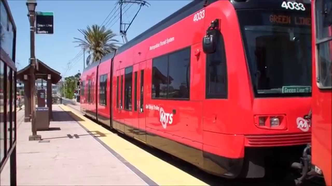 mts san diego trolley green line trams arriving departing old town station youtube. Black Bedroom Furniture Sets. Home Design Ideas