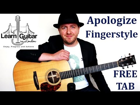 Apologize - Fingerstyle Guitar Tutorial - One Republic - Free TAB - Part 1