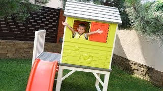 Funny Dima Unboxing a new House ride on POWER WHEEL Tractor