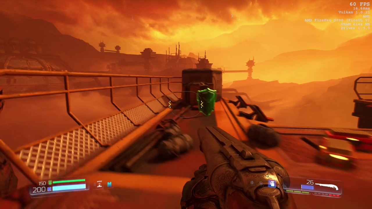 Doom 2016 at 60fps, all settings at high on Mac Pro