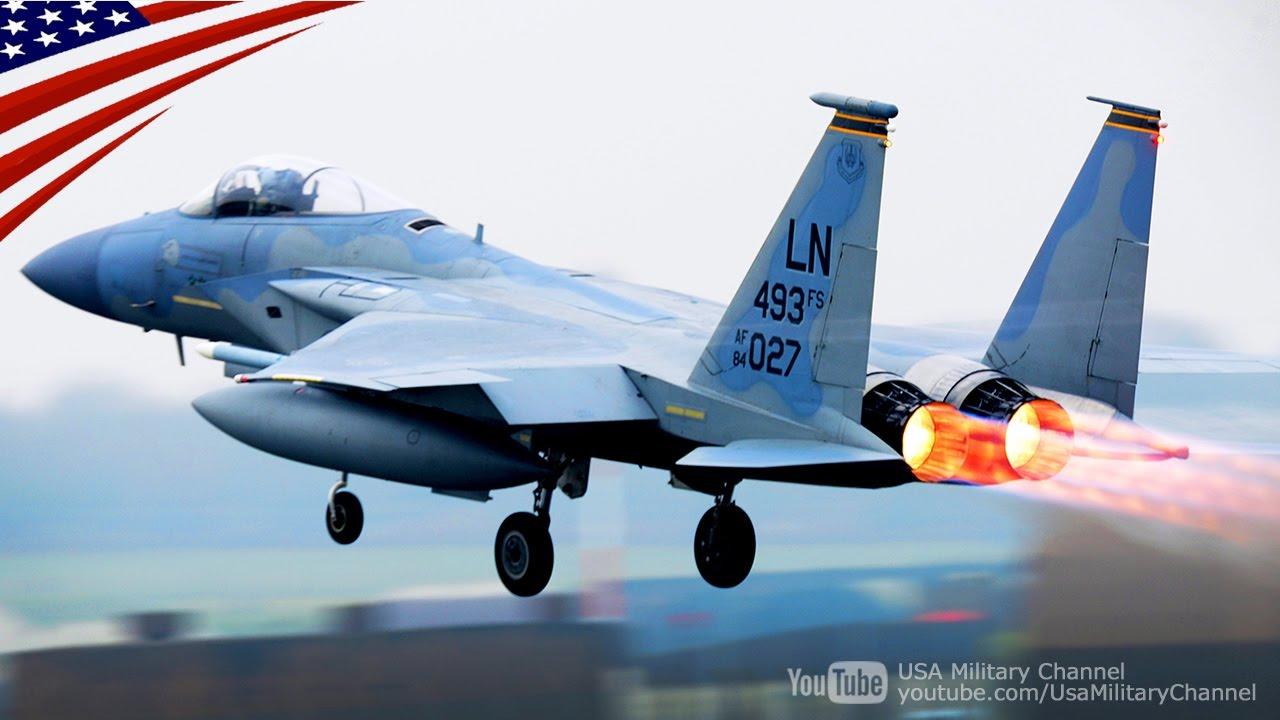 緊迫のスクランブル!F-22 & F-15戦闘機 B-52爆撃機 KC-135空中給油機 ...
