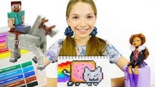 Монстер Хай Клодин и Стив Майнкрафт: #Майнкрафт пиксиляры. Куклы Монстер Хай и игрушки Майнкрафт