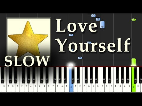 Justin Bieber - Love Yourself - Piano Tutorial Easy Synthesia SLOW - How To Play