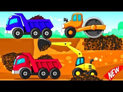 Little Builder Truck Cartoons   Trucks Backhoe Excavator, Crane, Diggers For Baby - Videos For KIDS