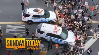 New York City Police Vehicles Filmed Driving Into Crowds Of Protesters | Sunday TODAY