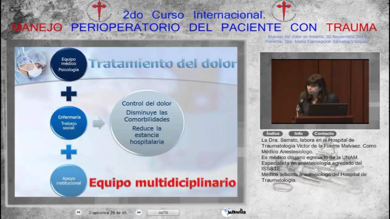 Manejo del dolor postoperatorio en trauma - Dra. María..