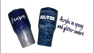 Acrylic in epoxy and glitter epoxy tumbler set.