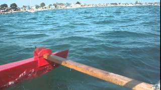 canoe sailing in poole harbour with a broken lee board 2015