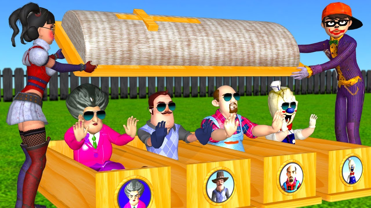 Download Scary Teacher 3D NickJoker and Tani Harley Quinn Troll Miss T and 3 Neighbor with Mini Helicopter