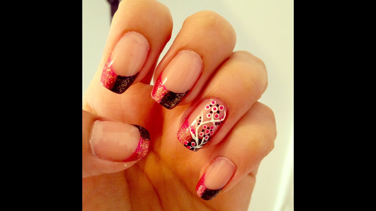 Dual Color French Tip Nail Art Tutorial - YouTube