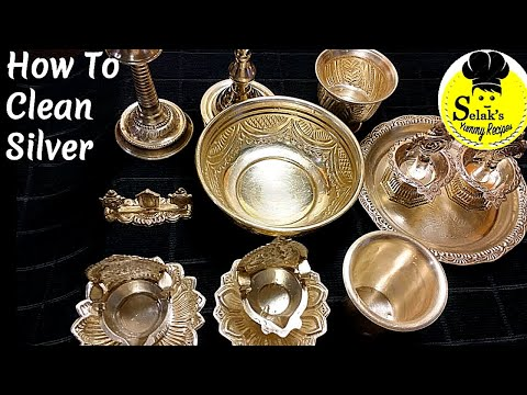 Cleaning Tips : 1 || பழைய வெள்ளி சாமான்களை புதிதாக்க எளிய வழி  ||  How to clean Silver Pooja Items