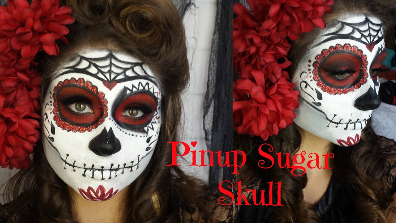 pinup red and black glitter sugar skull halloween makeup tutorial and victory roll beautybyjosiek youtube