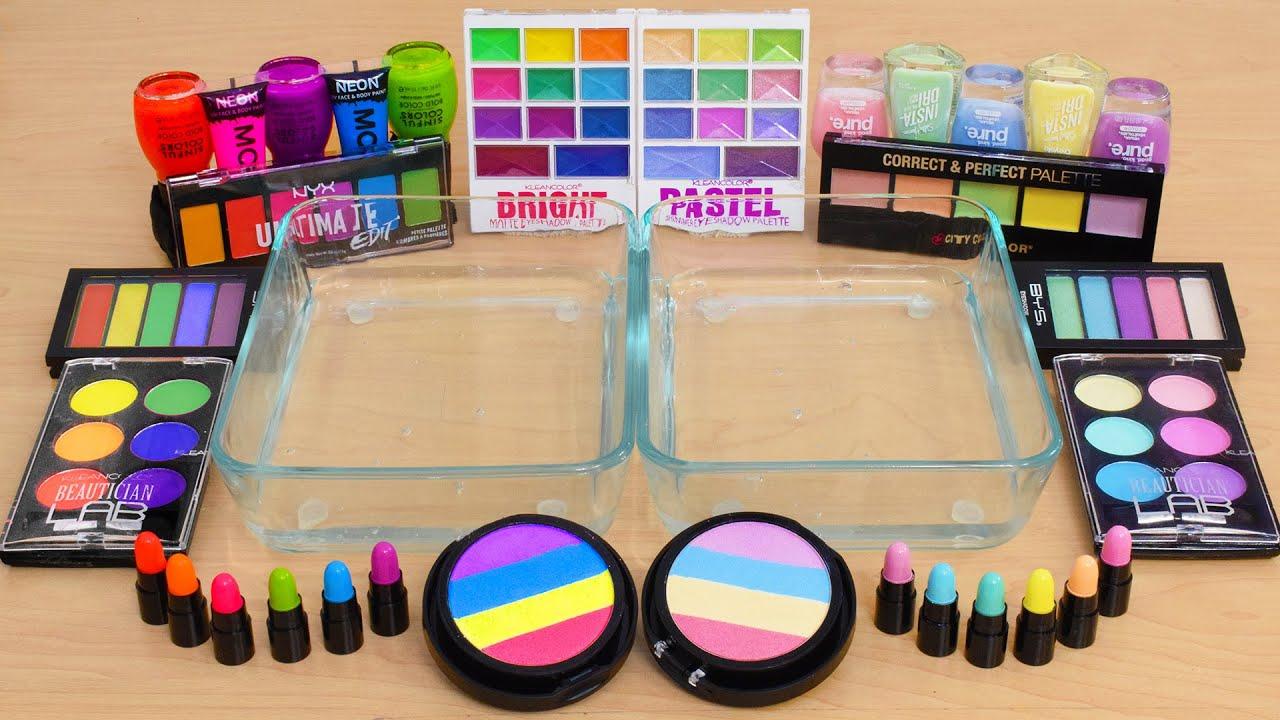 Download Rainbow Neon vs Pastel - Mixing Makeup Eyeshadow Into Slime ASMR - Satisfying Slime Video
