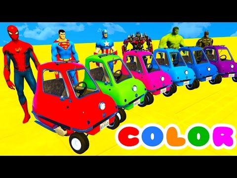 COLOR CARS on BUS and Spiderman Cartoon 3D with Superheroes for kids and babies!