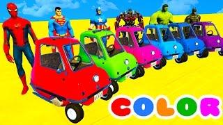 OTOBÜS ve Spiderman RENK ARABA çocuklar ve bebekler için süper kahramanlar ile 3D Çizgi film!