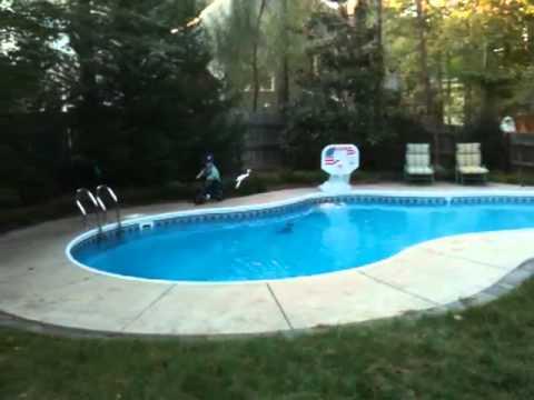 Chandler Biking around Pool