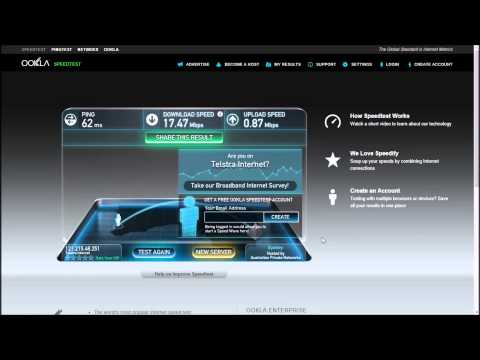 Telstra-Bigpond ADSL2+ Speedtest, Western Australia