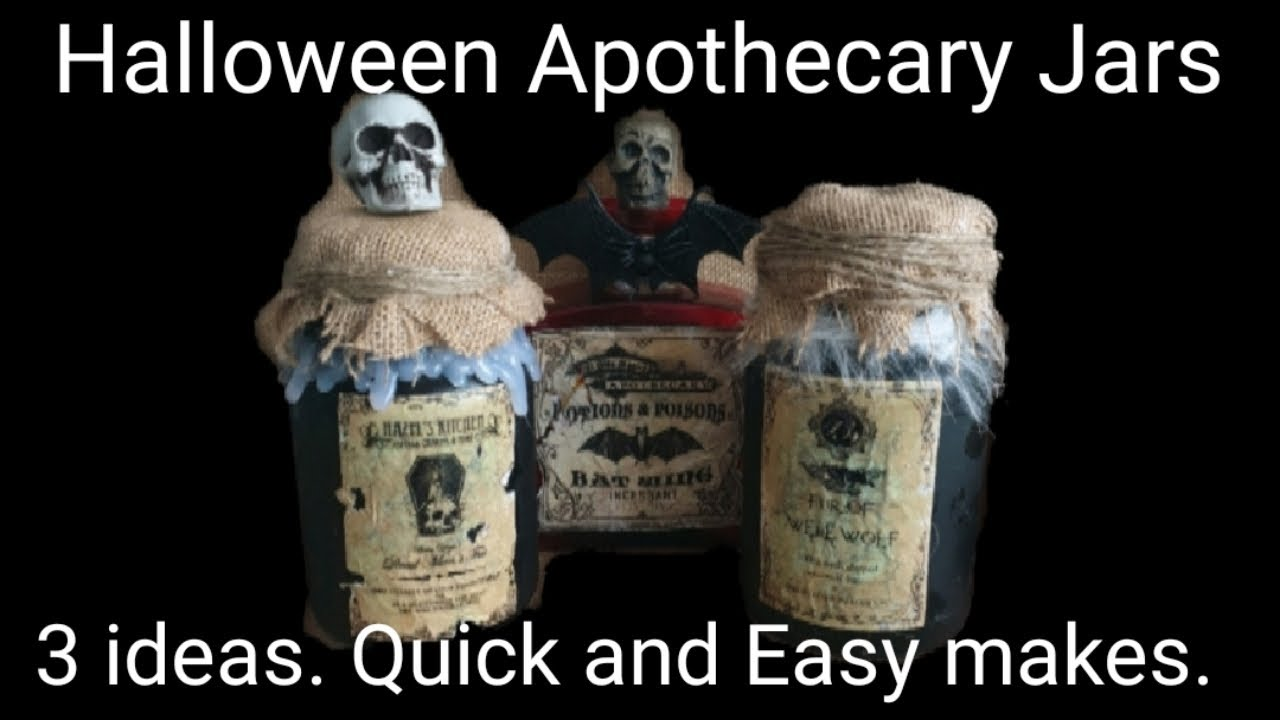 Halloween Apothecary Jars 2020 Super Easy Youtube