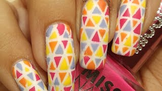 Multicolored Triangles Kaleidoscope Nail Art Tutorial!!!