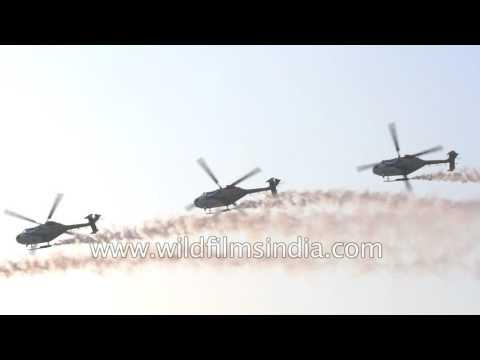 Indian military Helicopters - display recorded in slow motion!
