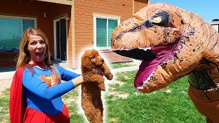 Supergirl SAVES Golden Doodle PUPPY From T Rex!