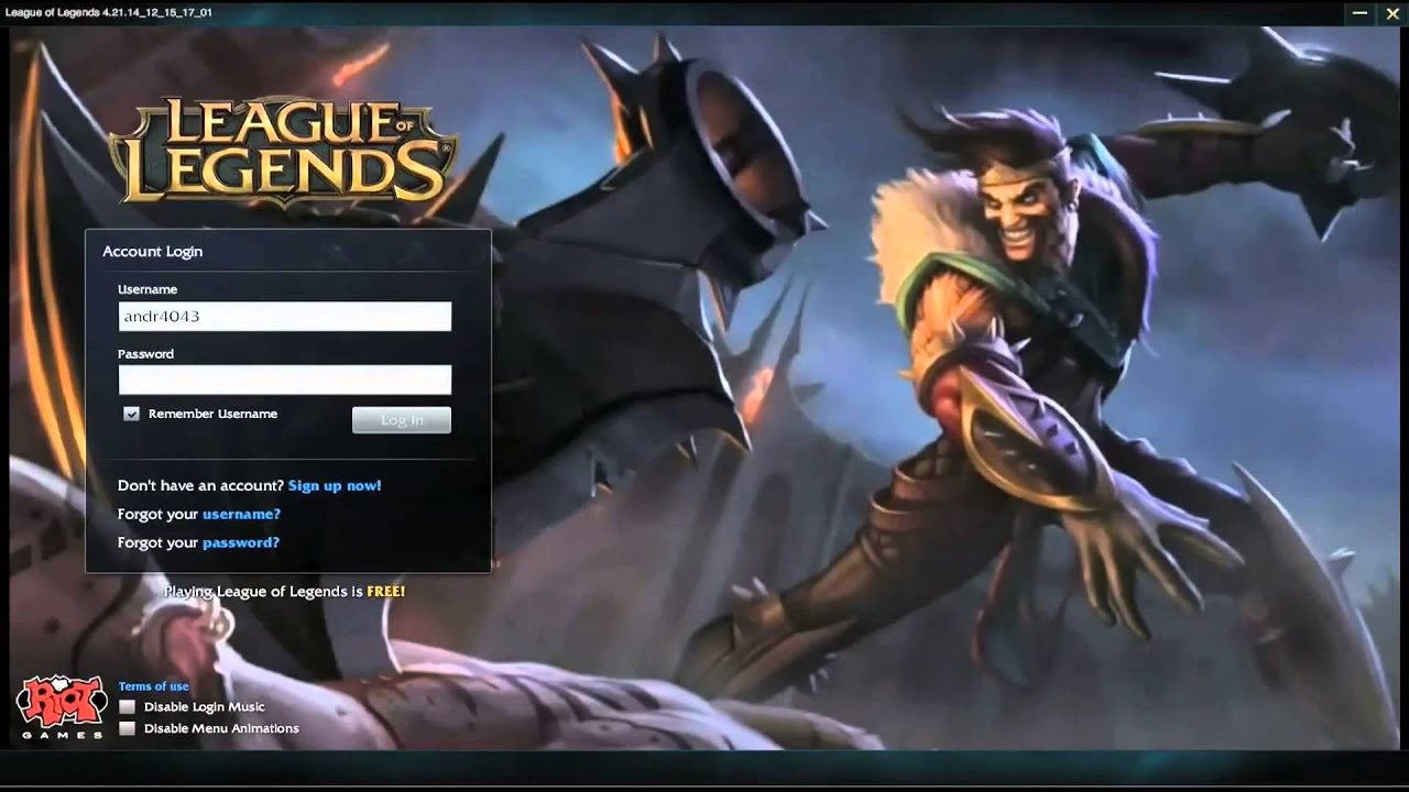 league how to change log in screen