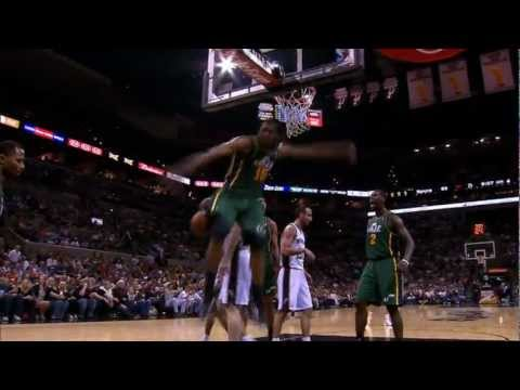 Derrick Favors Reigns Down on Matt Bonner