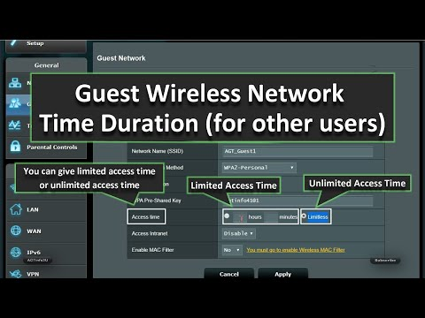 ASUS Router Guest Wireless Network Settings With Access Time Limit (for Other Users)
