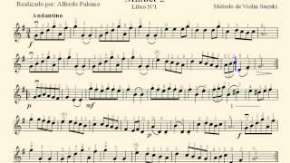 Partitura Minuet 2  J.S. Bach Método de Violín Suzuki Volume Nº1