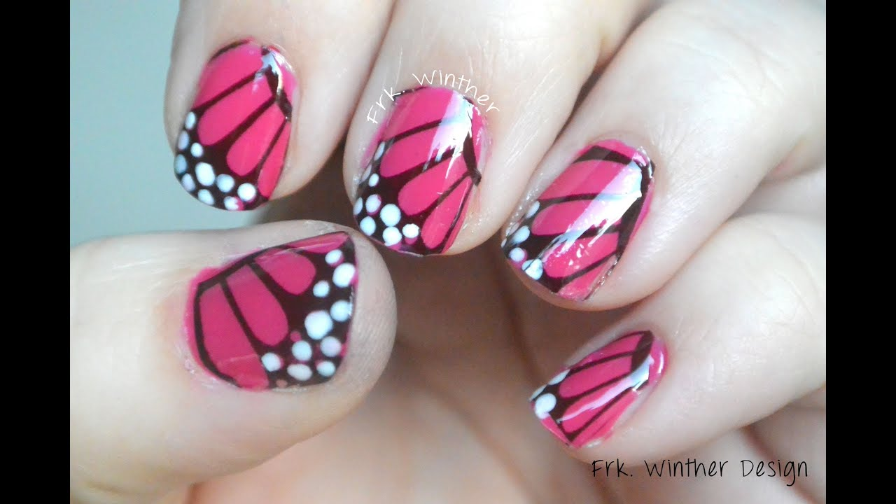 easy butterfly nail art design