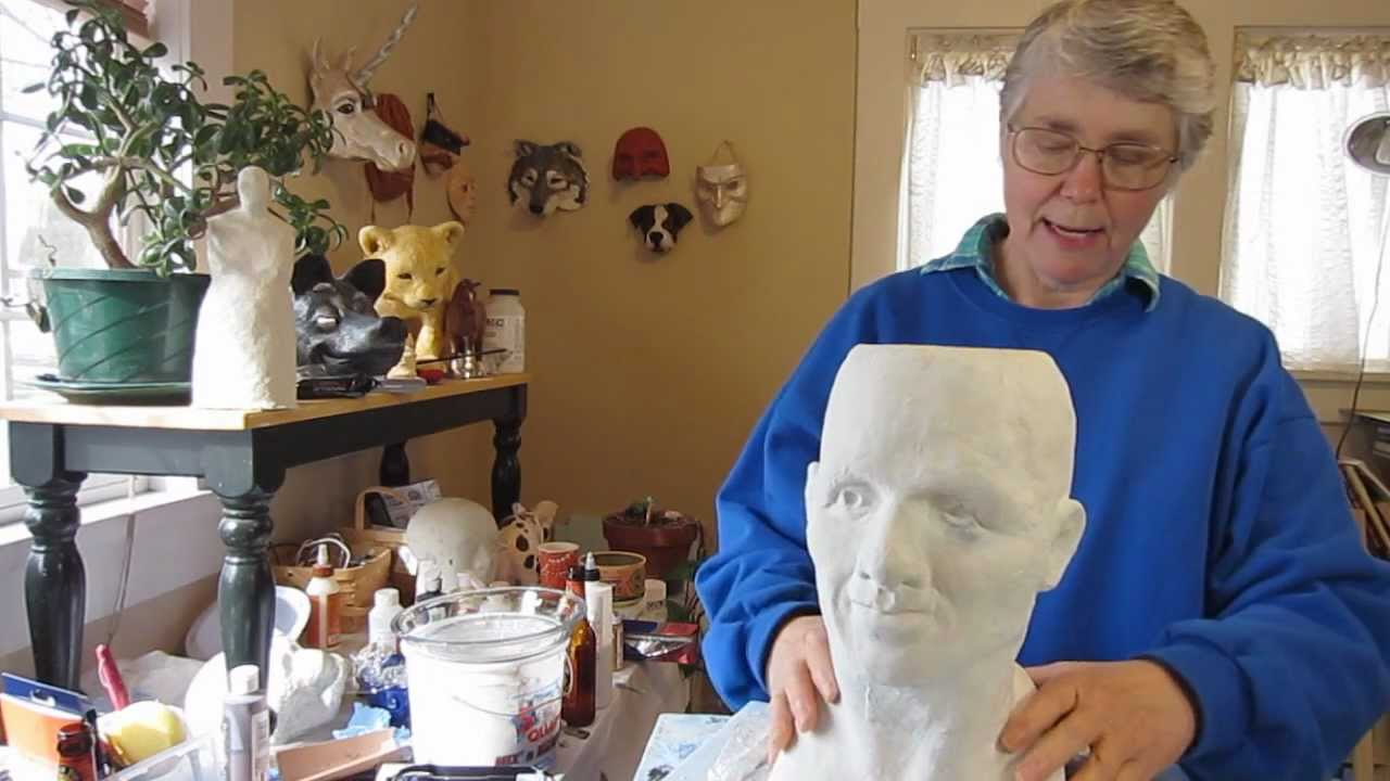 Paper mache head part 2 youtube for How to make a sculpture out of paper mache