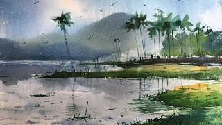 Watercolor landscape painting demonstration on the spot by Prashant Sarkar.