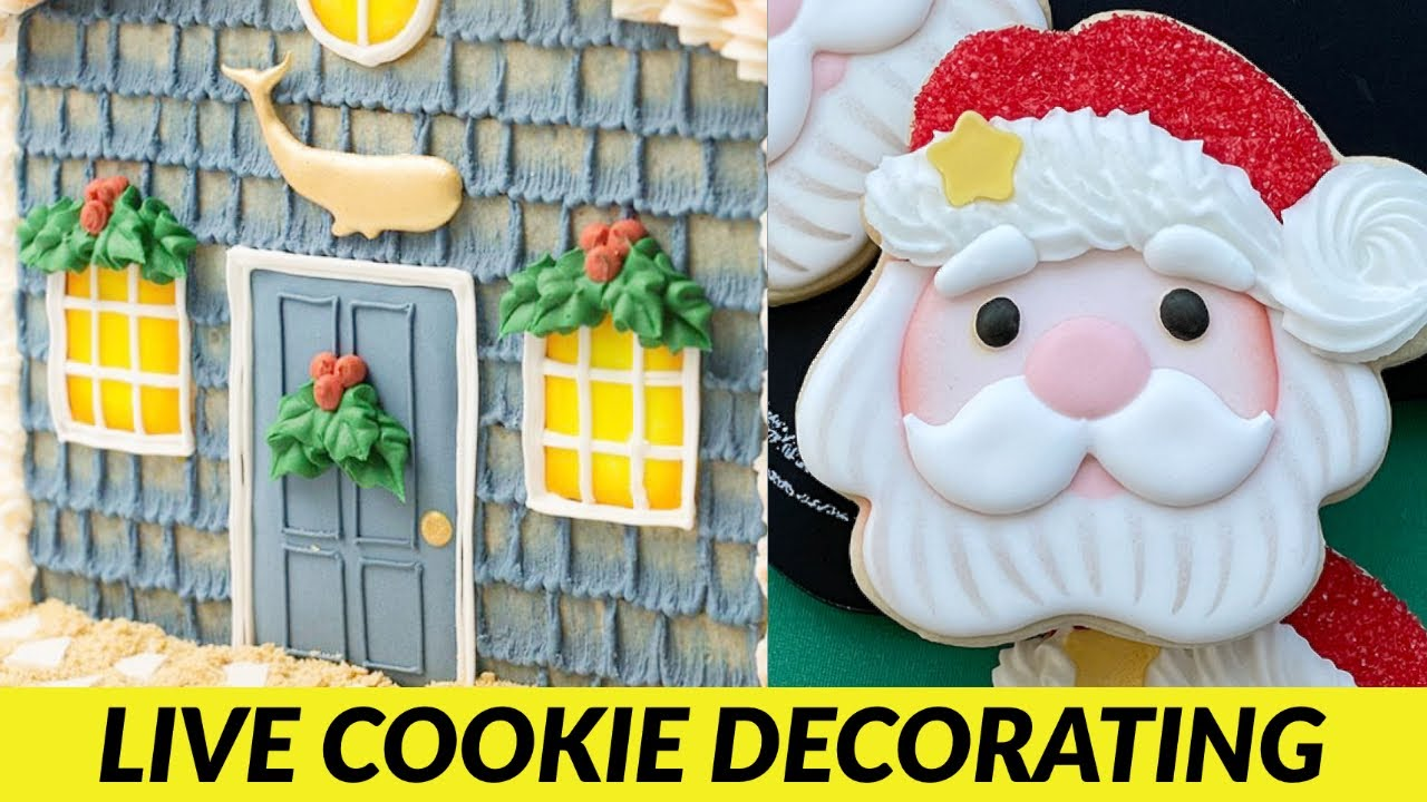 Cookie Beach House and Santa Cookies   LIVE Royal Icing Cookie Decorating