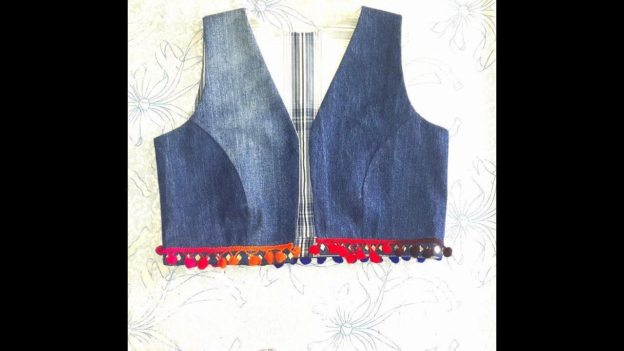 How To Make Denim Jacket/vest/Bolero/Waist Coat From Old ...
