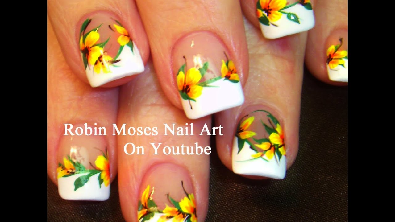 Easy French Mani Nails with Yellow Flowers! DIY Neon Nail Art Design ...