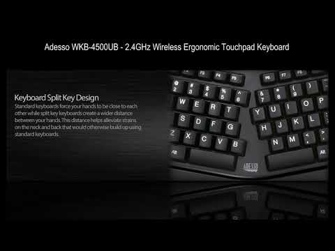 Adesso WKB-4500UB - 2.4GHz Wireless Ergonomic Touchpad Keyboard