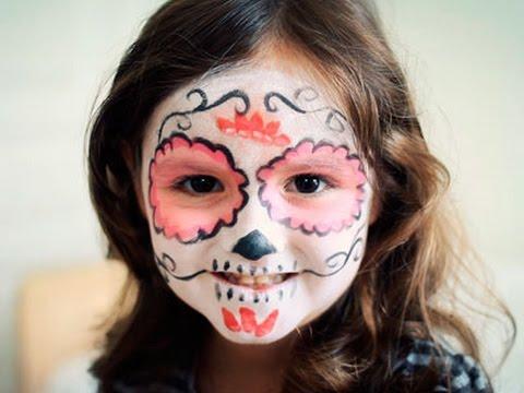 Maquillaje de Halloween para niñas Calavera mexicana con flor , YouTube
