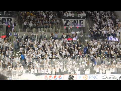 Penn State ice hockey celebrates the first goal in Pegula Ice Arena scored by Nate Jensen