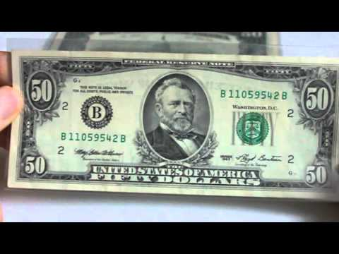 Rare Old School Fifty Dollar Notes:  Small Portrait
