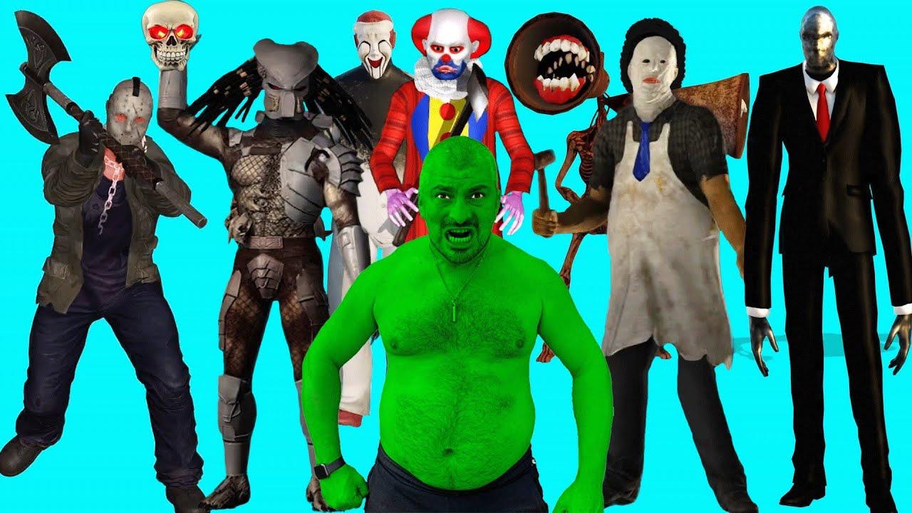 Hulk VS Siren Head, Jason Voorhees, Michael, Freddy, IT Pennywise,Leatherface, SLENDER MAN, Predator