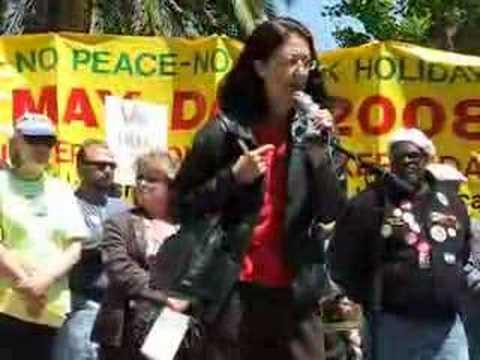 Gloria La Riva at the ILWU May Day March & Rally