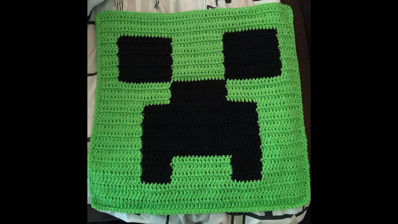 minecraft crochet pillow top - YouTube